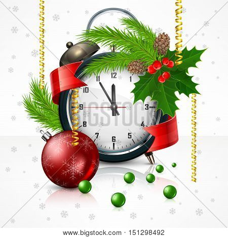New Year clock on white with holly berry branch Christmas. Christmas time vector illustration