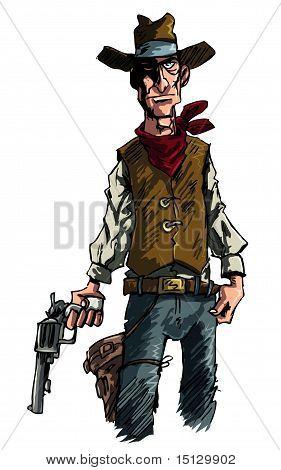 Cartoon Cowboy Gunslinger Draws His Six Shooter