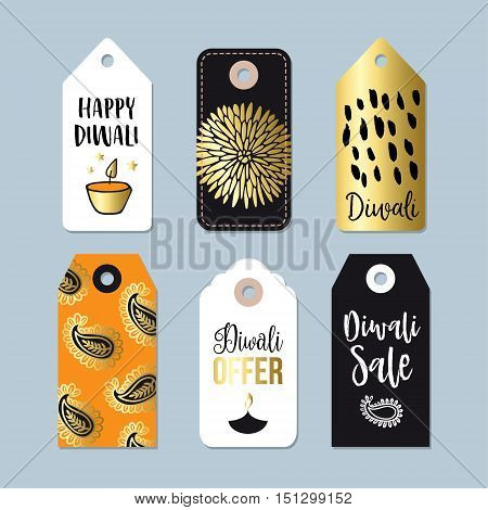Happy Diwali special offer sale labels tags sticker. Business concept. Indian Festival of Lights celebration. Isolated vector objects. Diya oil lamps.