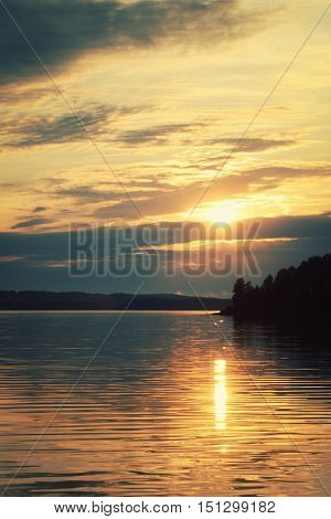Peaceful Evening At Kenozero Lake Beautiful Sunset