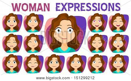 Girl with different facial expressions set. A variety of facial expressions of women. Stock vector