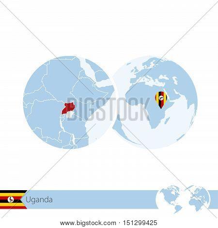 Uganda On World Globe With Flag And Regional Map Of Uganda.