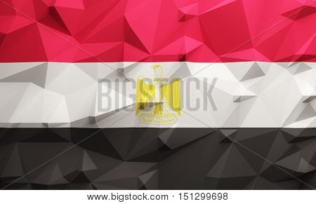 Low poly illustrated Egypt flag. 3d rendering.