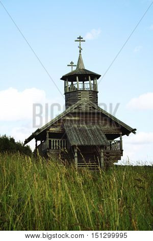 Small wooden chapel. John the Baptist Chapel in Zekhnovo Village. One of Kenozersky National Park symbols. Kenozero Arkhangelsk region Russia.