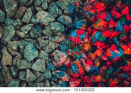 stones in neon colors and gray stones, view from above