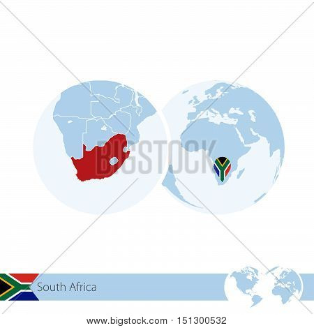 South Africa On World Globe With Flag And Regional Map Of South Africa.