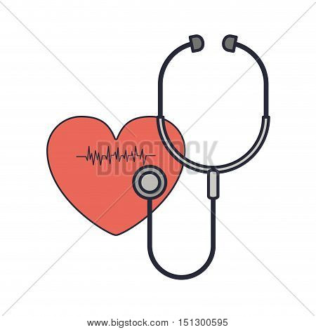stethoscope to listen red heart beat vector illustration