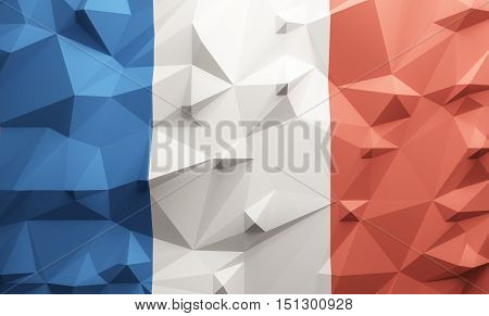 Low poly illustrated France flag. 3d rendering.