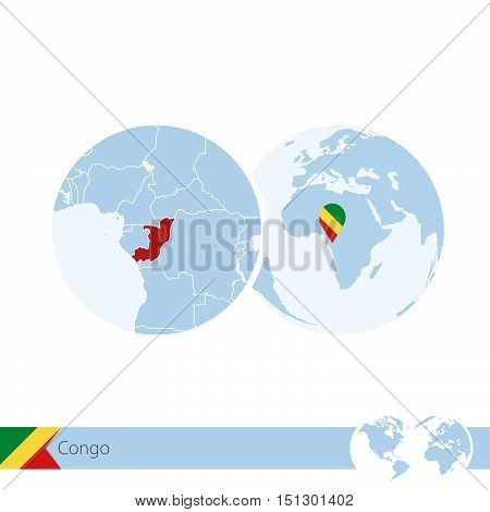 Congo On World Globe With Flag And Regional Map Of Congo.