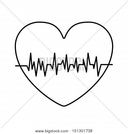 silhouette heart with signs of life vector illustration