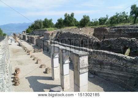 Ruins of Catullus Caves roman villa in Sirmione Garda Lake Italy.