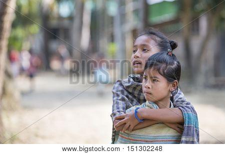 Chittagong Bangladesh February 25th 2016: bangladeshi girls in a remote village