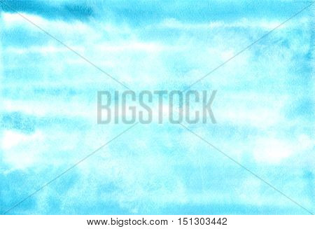 Blue air watercolor banner. Hand painted blue sky and clouds. Abstract background. Ink spreading.