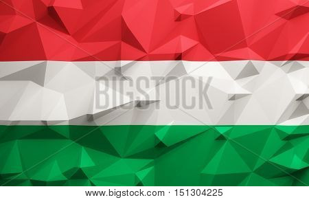 Low poly illustrated Hungary flag. 3d rendering.