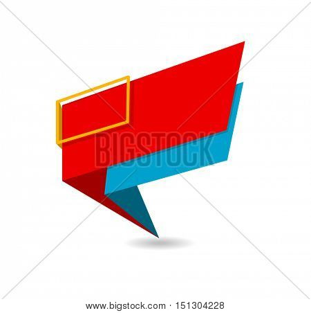 paper origami colored banner with frame