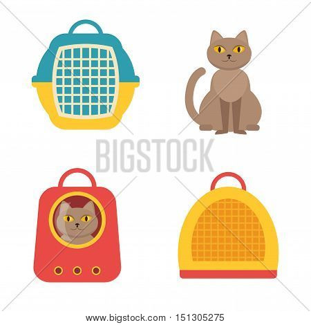 Cat carrier. Vector isolated illustration on a white background. Cartoon character. Drawing for vet clinics, pet shop.
