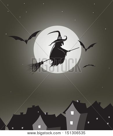 Witch flying on besom in the night at full moon.Vintage vector illustration.Halloween holiday