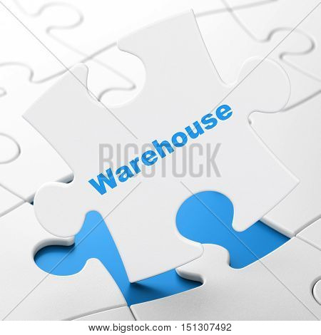 Industry concept: Warehouse on White puzzle pieces background, 3D rendering