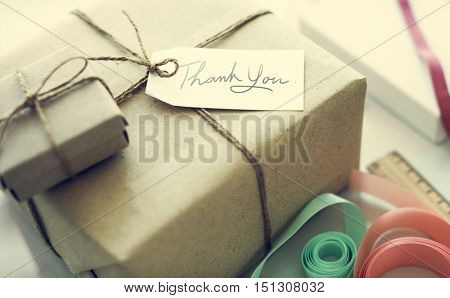 Thank You Gift Message Present Packing Concept