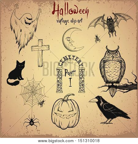 Vintage clip art. Collection of terrible animals and objects for Halloween design.Hand drawn style.Vector illustration