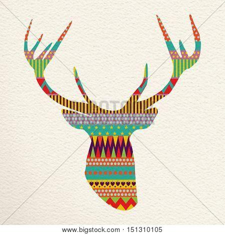 Christmas Deer Illustration Art In Fun Colors
