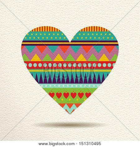 Colorful Heart Design In Fun Geometric Shape Style