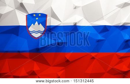 Low poly illustrated Slovenia flag. 3d rendering.