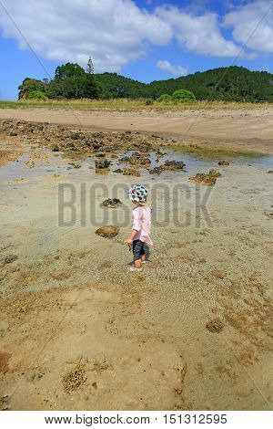 Little Girl With Her Feet In The Water. Russell Long Beach, Bay Of Islands. Nz