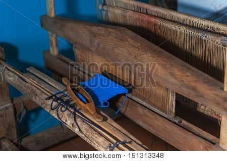 Old russian distaff - tool for hand spinning