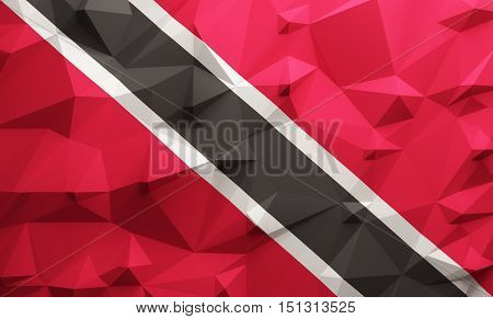 Low poly illustrated Trinidad and Tobago flag. 3d rendering.