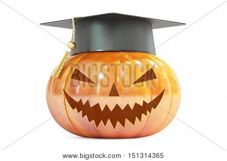 Halloween Pumpkin with academic cap 3D rendering isolated on white background