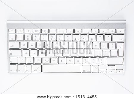 White office computer keyboard on white background table