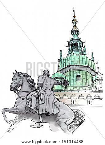 Krakow. Poland. Tadeusz Kosciuszko Monument & The Wawel Cathedral, Katedra Wawelska in Polish, was the coronation site of Polish monarchs and remains Poland's most important national sanctuary