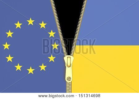 Relation from Ukraine and EU political concept. 3D rendering