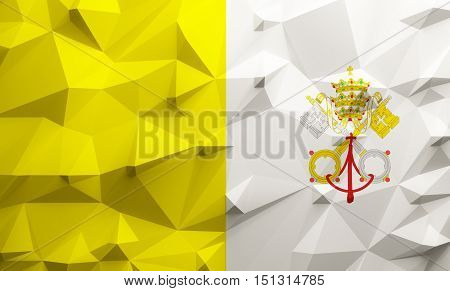 Low poly illustrated Vatican flag. 3d rendering.