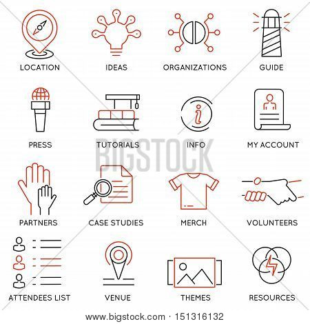 Vector set of 16 icons related to business management marketing maintain and service. Mono line pictograms and infographics design elements for app and web design navigation - part 3