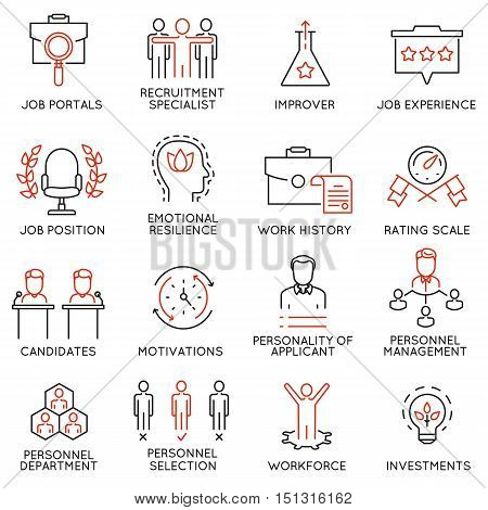 Vector set of 16 icons related to business management strategy career progress and business process. Mono line pictograms and infographics design elements - 51
