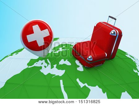 Low poly illustrated travel concept. 3d rendering. Travel to Switzerland. Luggages and Swiss flag pin on globe.