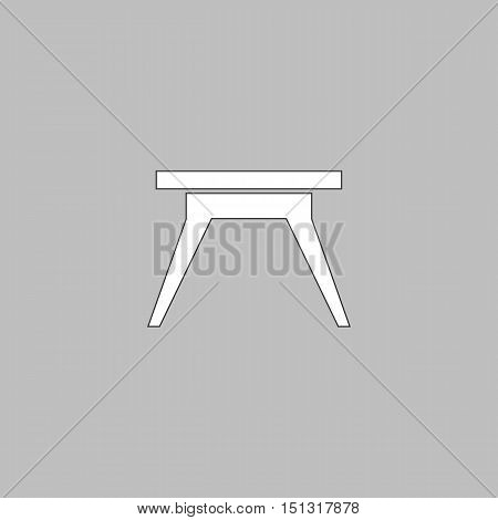 Camping table Simple line vector button. Thin line illustration icon. White outline symbol on grey background