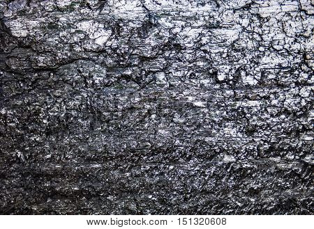 The surface of the black coal with rich texture