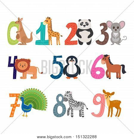 Learn to count. Funny cartoon childish illustration with cute animals. Numbers. Vector illustration
