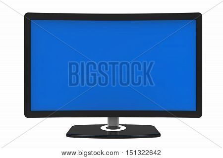 Curved tv screen isolated on white background 3D rendering