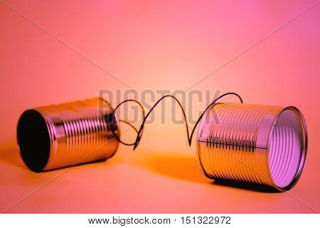 tin can phone aluminum. communication concept .