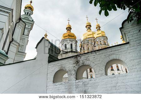 buildings and golden domes in Kyiv Pechersk Lavra, Kyiv, Ukraine