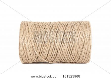 Skein of jute twine on white background