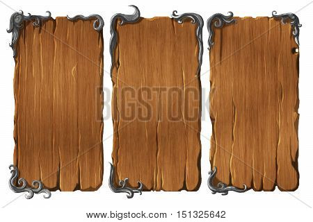 Colorful set of realistic wooden interface elements winodws or panels with metal frames