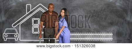 Health care worker helping an elderly patient