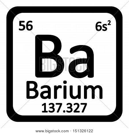 Periodic table element barium icon on white background. Vector illustration.