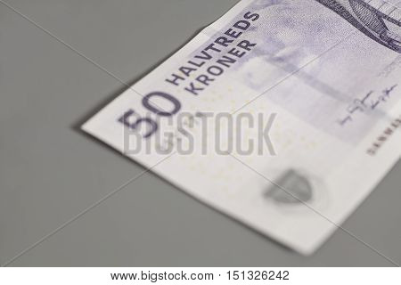 50 danish krone banknote on gray background poster