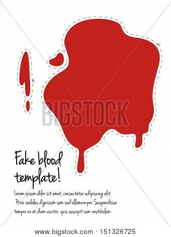 Fake blood template. Cut out Halloween decoration. Blood spot isolated on white.